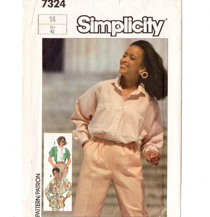 Simplicity 7324 Misses Oversized Shirt 80s Vintage Sewing Pattern Size 14 Bust