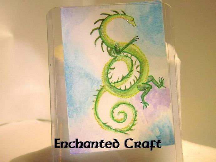 """Emerald Knot Dragon"" original ACEO watercolor painting"
