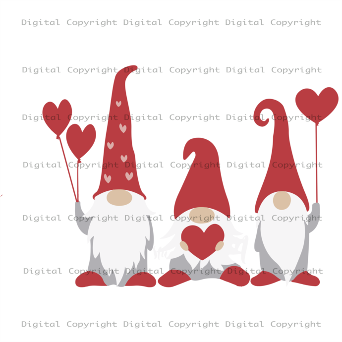 Gnome With Heart Svg, Three Gnome, Gnome Lover, Heart Balloon Vector, Gnome