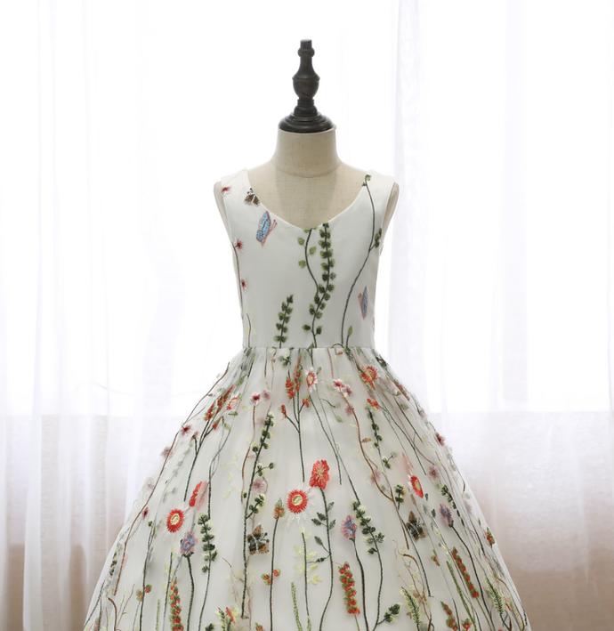 Kids Printed Dresses Sleeveless Backless Bow V-Neck Evening Dress Children