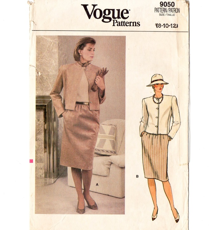 Vogue 9050 Misses Suit Jacket, Skirt 80s Vintage Sewing Pattern Size 8, 10 Short