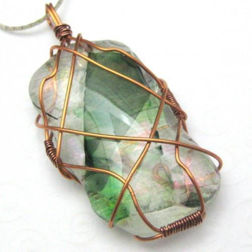 Medieval Handmade Fused Glass and Copper Wire Wrapped Pendant Green