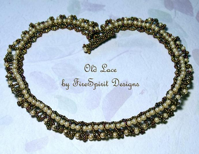 Old Lace- OOAK beadwoven necklace