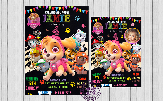 Skye Paw Patrol Invitations,	Customizable Paw Patrol Invitations, Paw Patrol