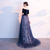 Beautiful Blue Velvet And Tulle Party Dress, A-Line Lace-up formal Gown, Prom