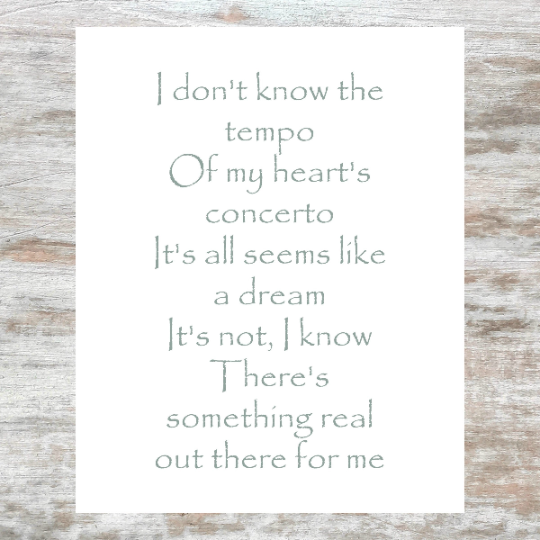 I don't know the tempo - My heart's concerto - It's all seems like a dream -