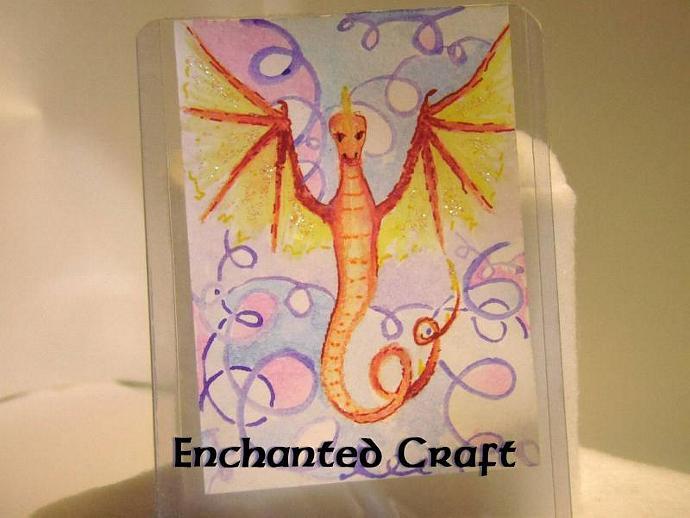 """Draconian Surprise"" original ACEO watercolor painting"