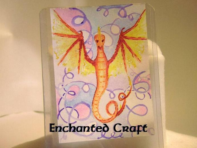 """Draconian Surprise"" original ACEO watercolor painting"