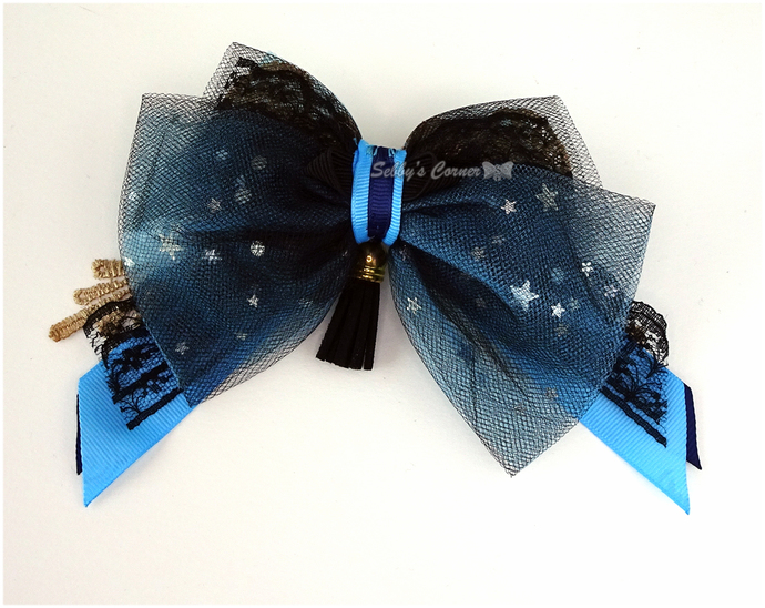 Quarantine Blues Bow Tie for Pets, Blue Gold, OOAK, Catwalk Collection