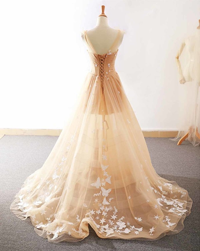 Lovely Tulle Champagne Straps Custom Tulle Party Dress, Lace Applique Homecoming