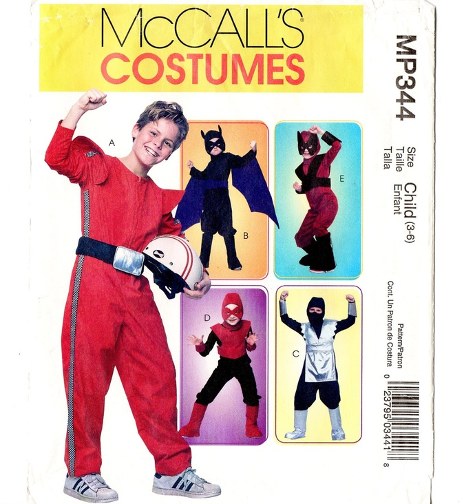 McCall's 4951 Boys Super Hero Costume Sewing Pattern Uncut Size 3-4, 5-6