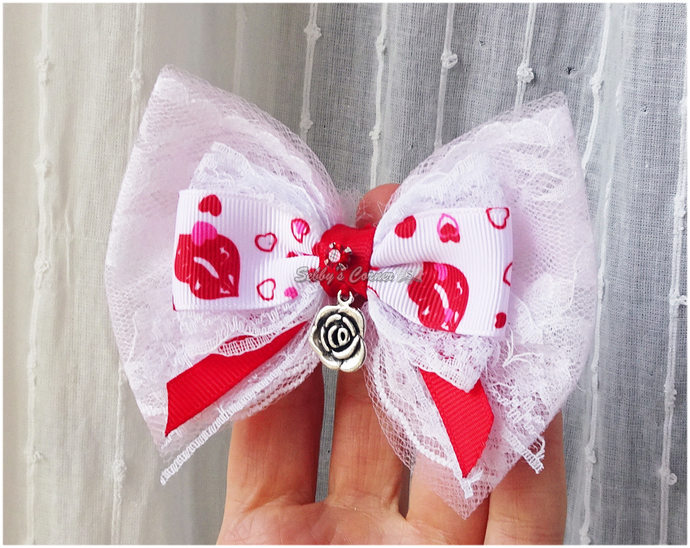 Thirty Kisses OOAK Bow Tie for Cats, Catwalk Collection, Sebbys Corner,