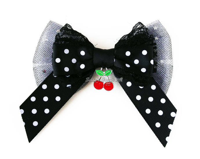 Cherry Delicious Polka Dot Bow Tie for Cats, Black, White, Rockabilly,