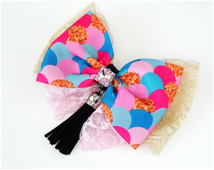 Purrmaid Fish Scale Ribbon bow tie with Tassel, Cat Fashion, Pet Accessories,