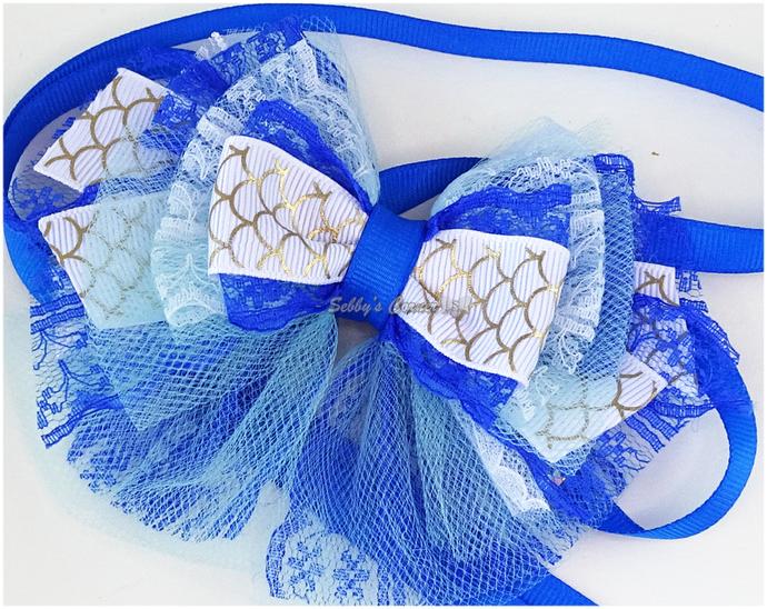 Tunatini in Santorini Ribbon Tie Neckpiece for Pets, OOAK, Summer, Blue, White,