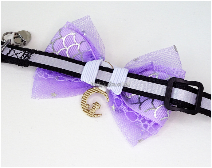 Moonlight Purrincess Pastel Purple Bow with Moon Cat Charm, Cat Accessories,