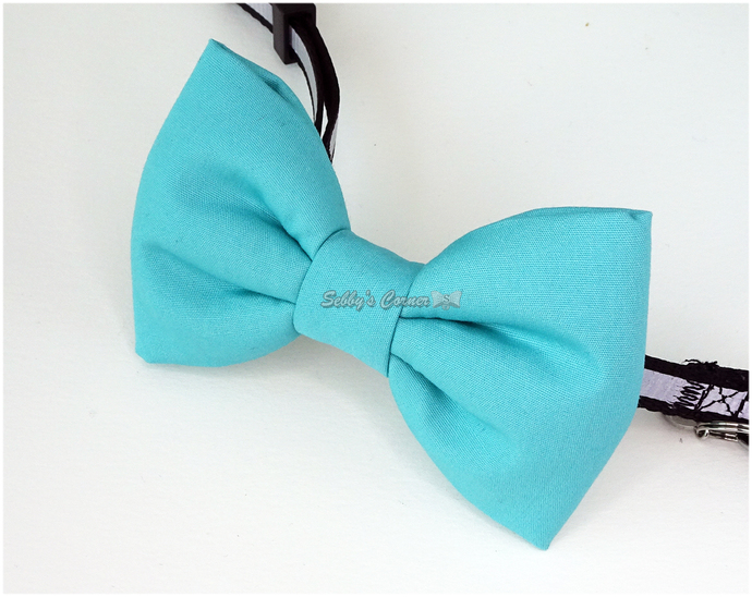Teal Green Cat Bow Tie, Solid Color, Pet Accessories, Slide On, Spring, Eeaster
