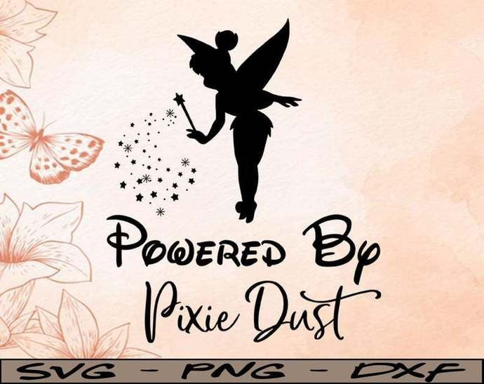 Powered by Pixie dust Disney svg, Disney Mickey and Minnie svg,Quotes files, svg