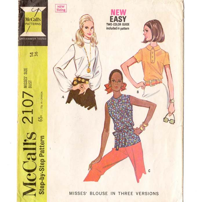 McCall's 2107 Misses Blouse, Top 60s Vintage Sewing Pattern Size 14 Bust 36 Long