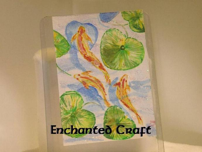 """Pond of Good Wishes"" original ACEO watercolor painting"