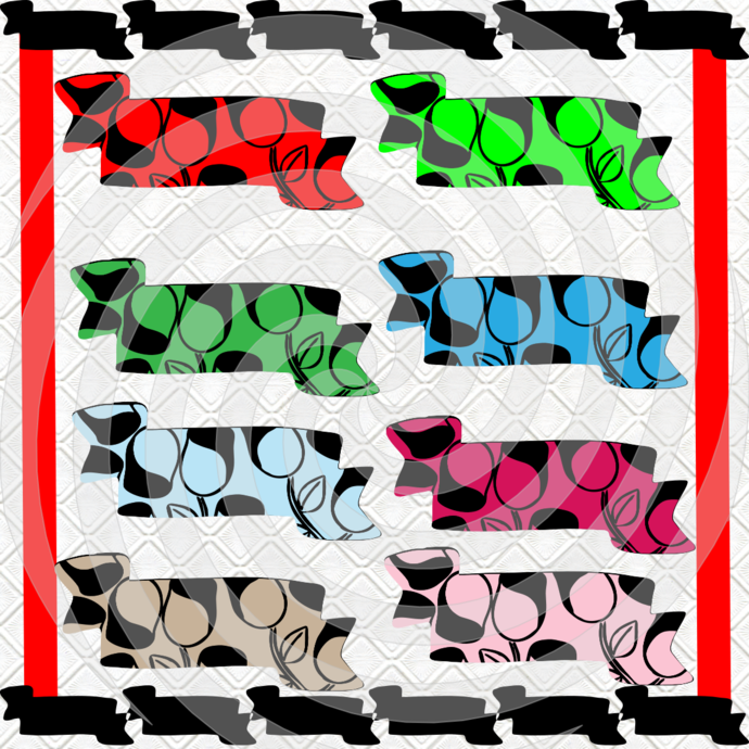 Color Tags 10T-Digital Clipart-Flower-Art Clip-Gift Cards-Banner-Gift