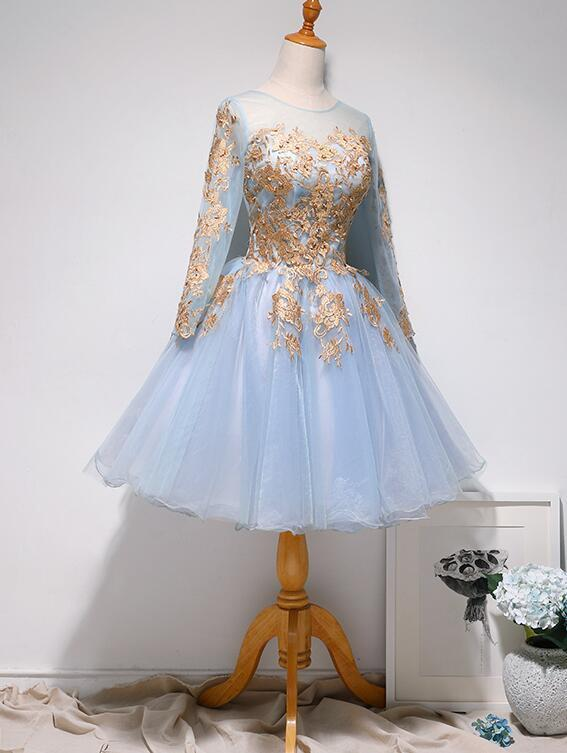 Cute Short Blue Tulle with Lace Applique Party Dress, Blue Homecoming Dress Prom