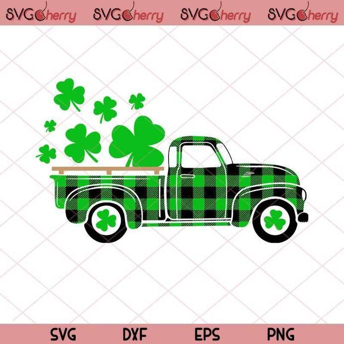 St Patrick's Truck Svg, Old Vintage Truck With Shamrock SVG, St Patrick's Day