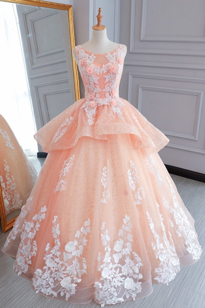 Charming Peach Pink Tulle Princess Sweet 16 Party Dress, Quinceanera Dresses