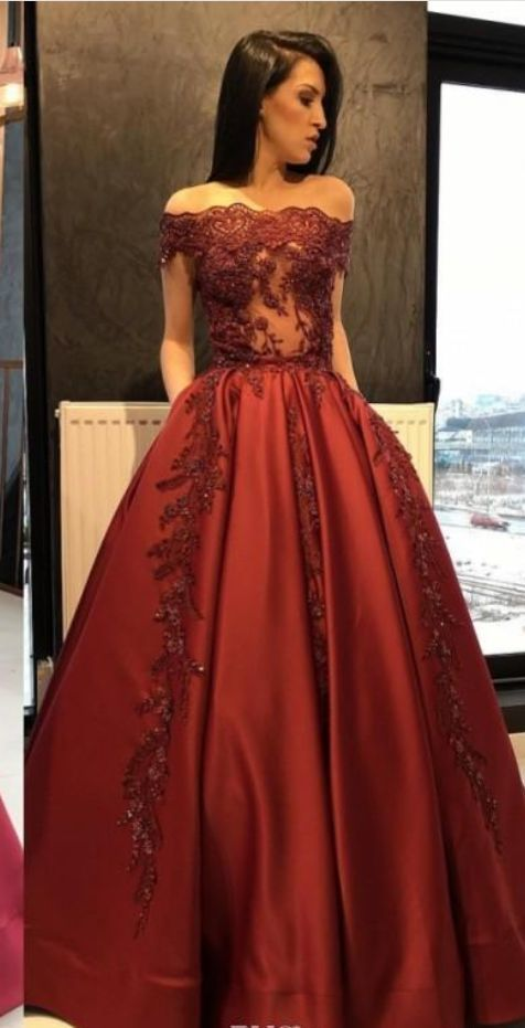 Dark Red Evening Gown Off The Shoulder Lace Prom Dress M9297