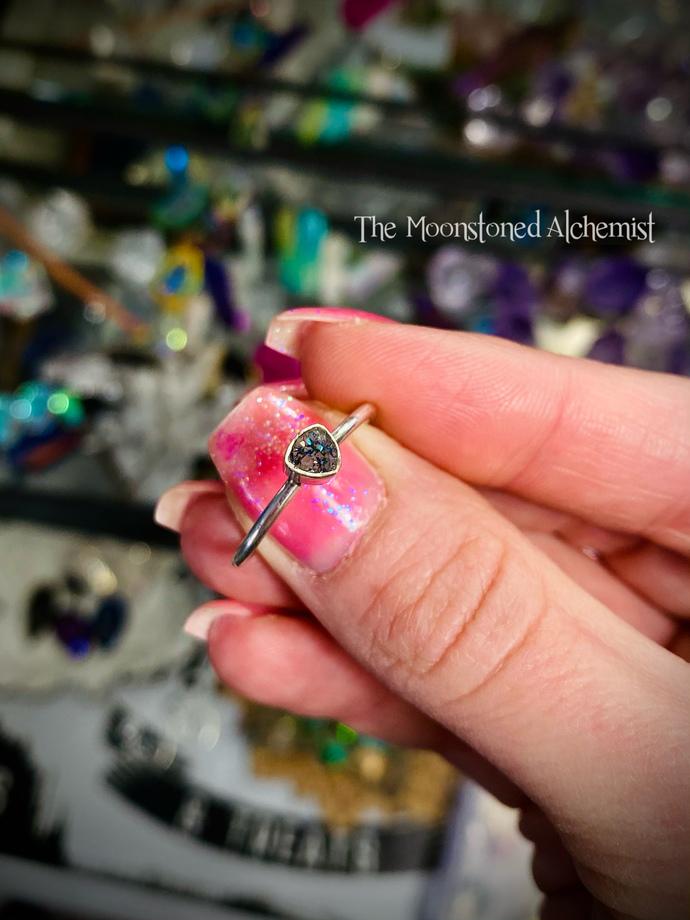 Sz 8 Sterling Silver Druzy Crystal ring
