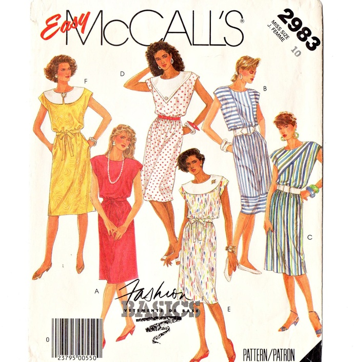 McCall's 2983 Misses Sleeveless Dress 80s Vintage Sewing Pattern Size 10 Bust 32