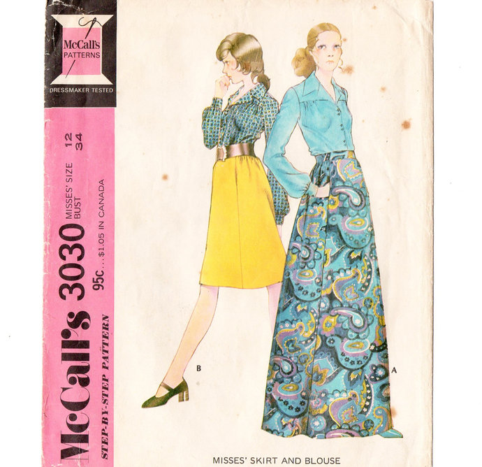 McCall's 3030 Misses Skirt, Blouse 70s Vintage Sewing Pattern Size 12 Bust 34