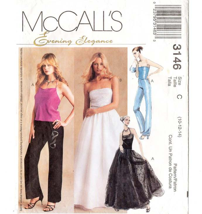 McCall's 3146 Misses Evening Top, Pants, Skirt Vintage Sewing Pattern Uncut Size