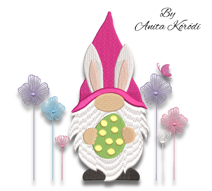 Easter gnome embroidery designs spring instant digital download pattern