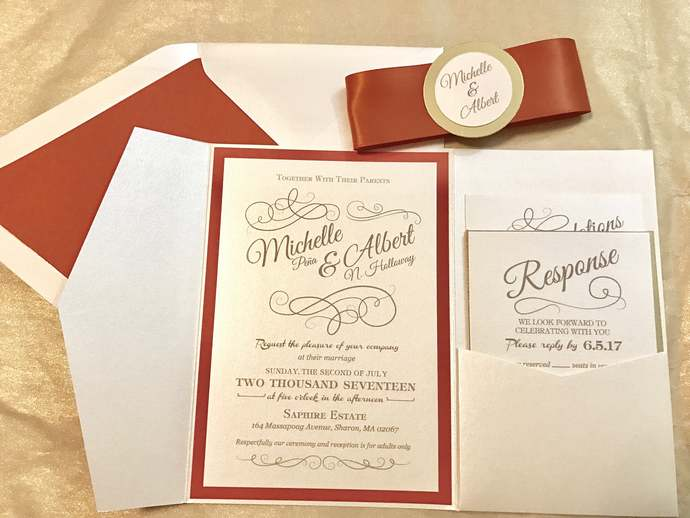 Rust Orange and Gold Foil Classy Pocket Wedding Invitation- Fall, Autumn, Navy,