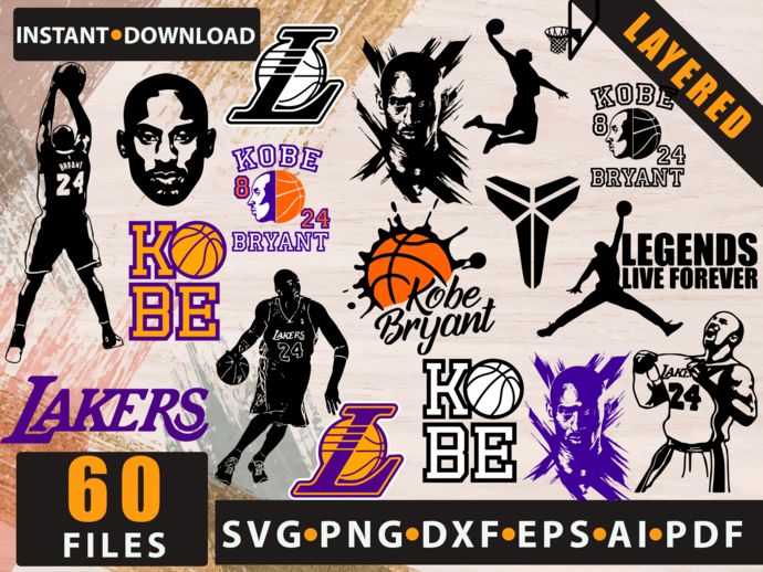 Kobe Bryant SVG png jpg download autograph Los Angeles Lakers basketball player