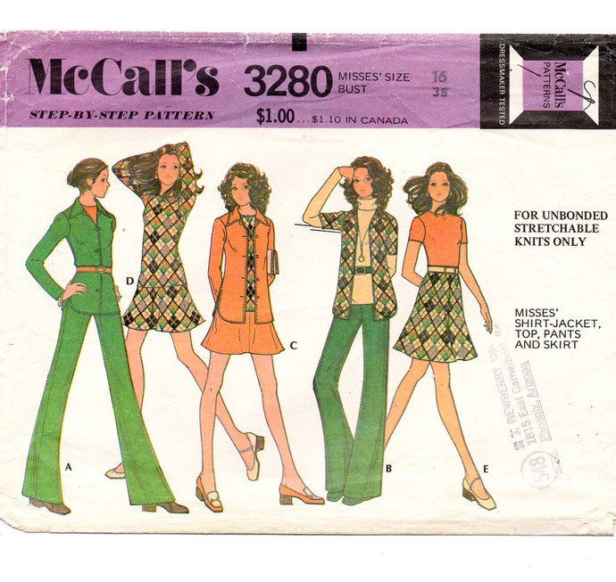 McCall's 3280 Misses Shirt-Jacket, Top, Pants, Skirt 70s Vintage Sewing Pattern