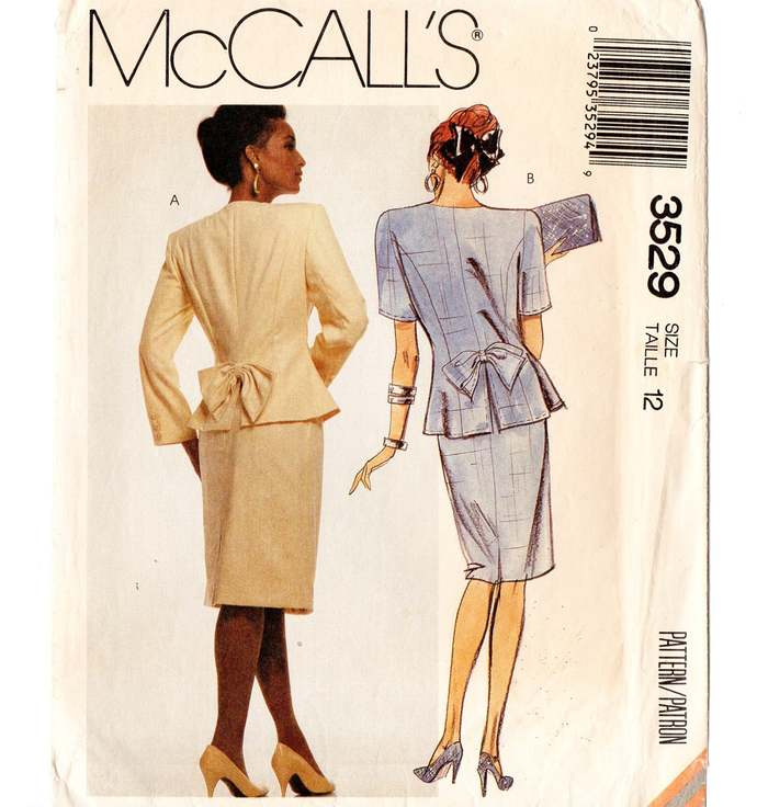 McCall's 3529 Misses Jacket, Skirt 80s Vintage Sewing Pattern Size 12 Bust 34