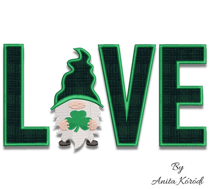 Love gnome embroidery design clover shamrock St.Patrick instant digital download