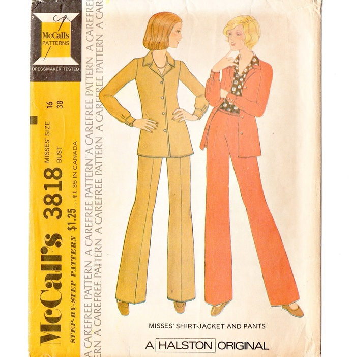 McCall's 3818 Misses Shirt Jacket, Pants 70s Vintage Sewing Pattern Uncut Size