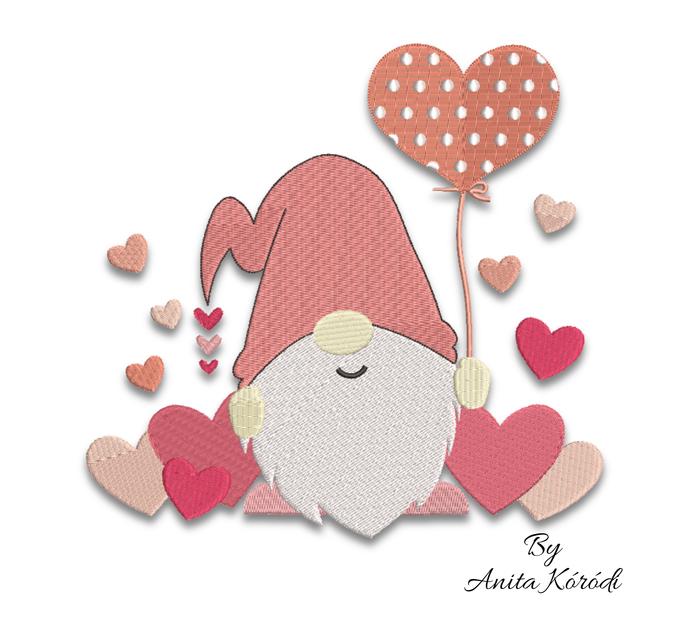 Love gnome embroidery machine design Pes Valentine instant digital download
