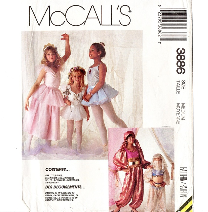 McCall's 3886 Girl Princess, Fairy Costume 80s Vintage Sewing Pattern Size Med 6