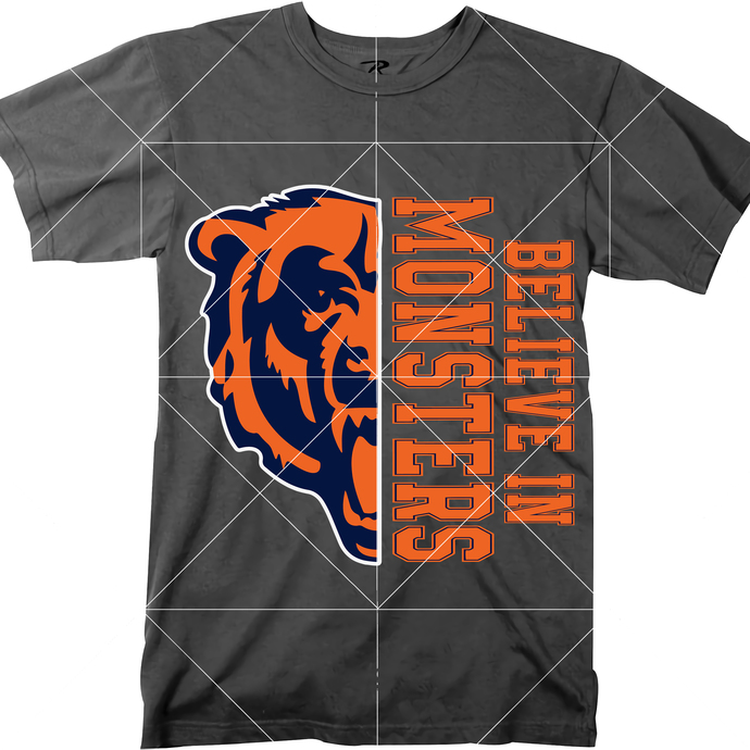 Believe In Monsters Svg, Chicago Bears Logo Svg, Chicago Bears Png, NFL Chicago