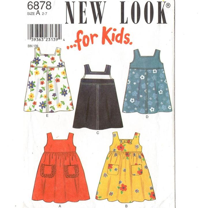 New Look 6878 Girls Sundress, Dress, Jumper Sewing Pattern Uncut Size 2, 3, 4,