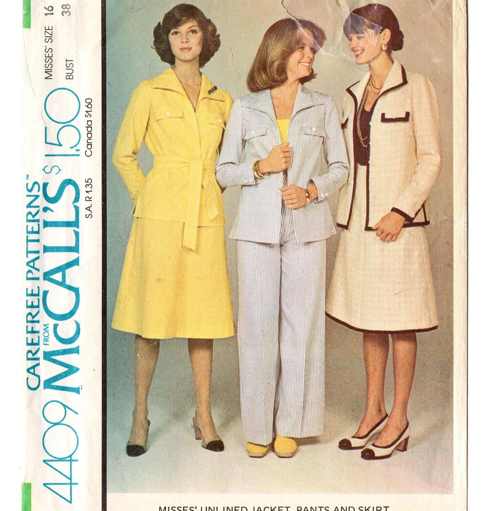 McCall's 4409 Misses Jacket, Pants, Skirt 70s Vintage Sewing Pattern Uncut Size