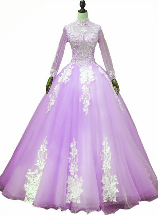 Lavender Tulle Long Sleeves Applique Sweet 16 Gown, Beautiful Evening Dress