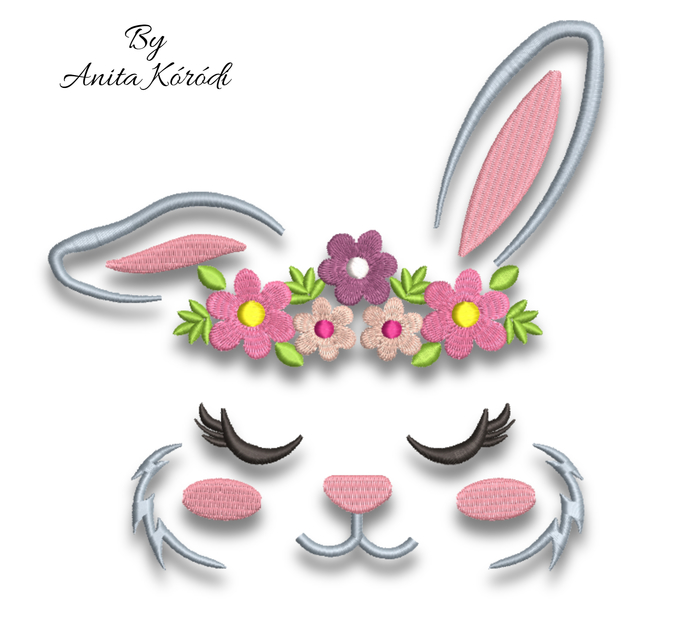 Embroidery Machine Designs Bunny face girl easter pattern digital instant