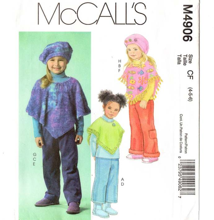 McCall's 4906 Girls Poncho, Hat, Pants Sewing Pattern Uncut Size 4, 5, 6 Chest