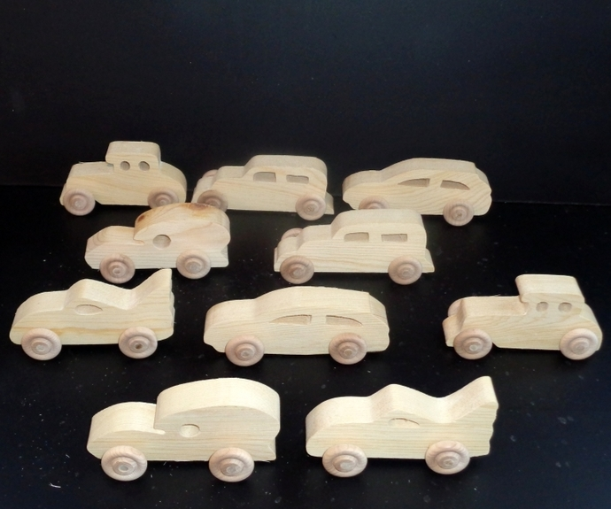 10 Handcrafted Wood Toy  Cars  OT-10  unfinished or finished
