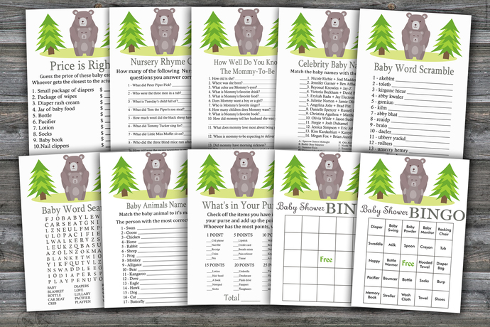 Bear baby shower games package,Bear Baby Shower Games,9 Printable Games---368
